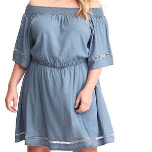 2X 3X Torrid Off Shoulder Smocked Chambray Dress